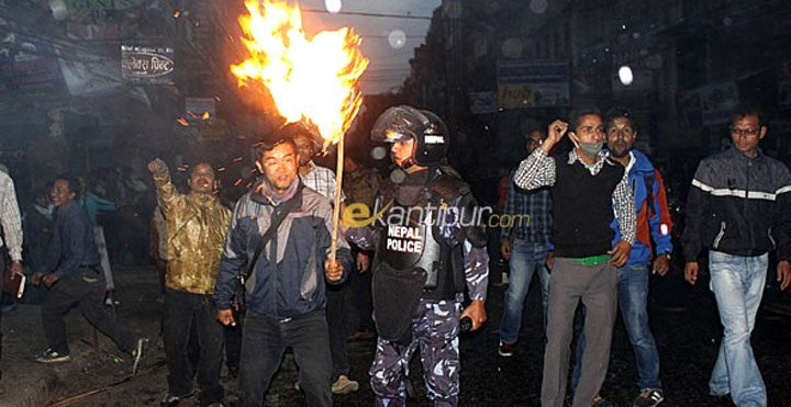 protest in nepal, strick in nepal, rout in nepal, hike of petroleum price