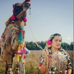 Rekha thapa with camel, rekha thapa traditional sexy dress