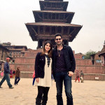sunny leone in Natapole temple, bhaktapur city, sunny leone with her husband in nepal