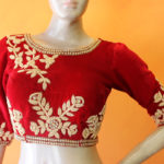 boutique design blouse, red blouse, bridal blouse
